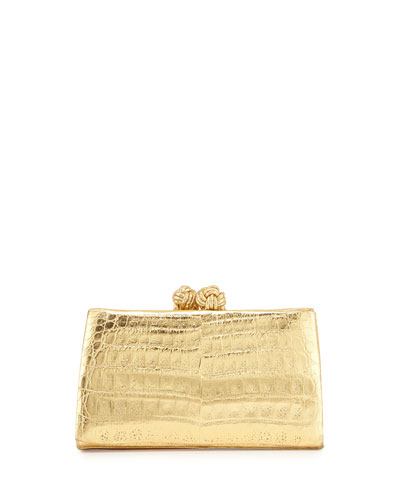 Crocodile Knot Clutch Bag, Gold Mirror