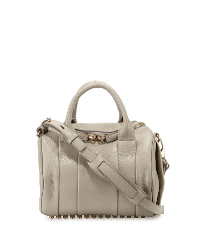 Rockie Soft Pebbled Leather Satchel Bag, Oyster