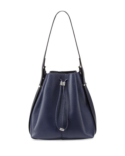 Prisma Drawstring Bucket Bag, Navy