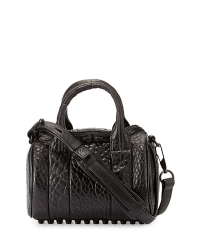 Mini Rockie Pebbled Lambskin Duffel Bag, Black