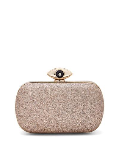 Evil Eye Glitter Minaudiere Evening Clutch Bag, Sand
