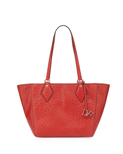 Voyage Ostrich-Embossed East-West Tote Bag, Rust