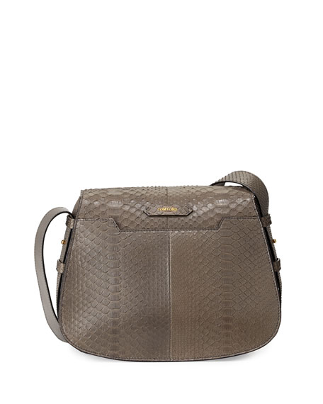 Jennifer Medium Python Shoulder Bag, Dark Gray