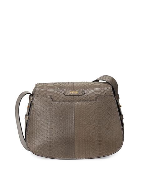 TOM FORD Jennifer Medium Python Shoulder Bag, Dark Gray