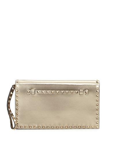 Rockstud Medium Flap Clutch Bag, Champagne Gold
