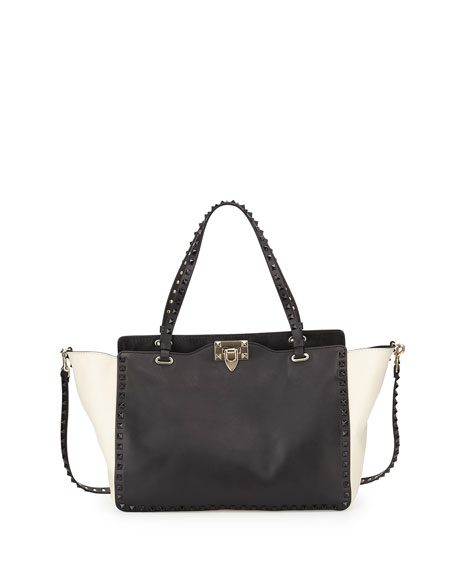 Valentino Rockstud Medium Bicolor Tote Bag, Black/Ivory