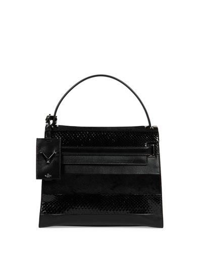 My Rockstud Small Mixed-Media Frame Bag, Black