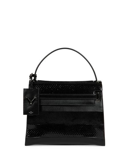 Valentino My Rockstud Small Mixed-Media Frame Bag, Black