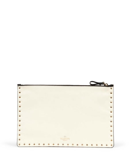 Valentino Rockstud Bicolor Zip Pouch, Black/Ivory