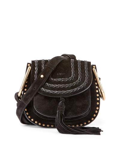 Hudson Mini Suede Shoulder Bag, Black