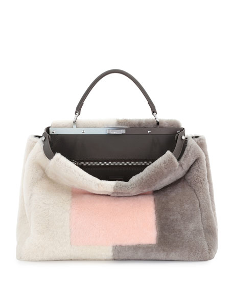 Fendi Peekaboo Large Shearling Satchel Bag, Pink/White/Gray