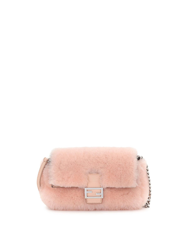 87eaa473689 Fendi Baguette Micro Shearling Fur Shoulder Bag
