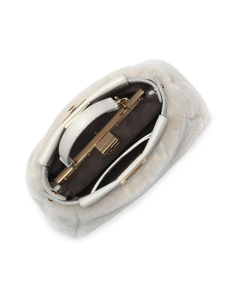 Peekaboo Micro Shearling Satchel Bag, Milk White