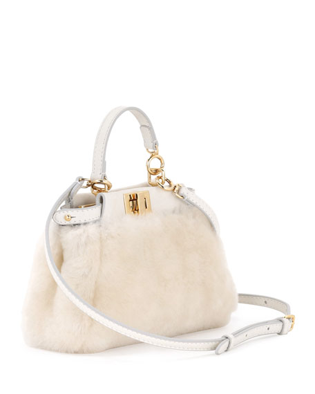 Peekaboo Micro Shearling Satchel Bag, Milk White