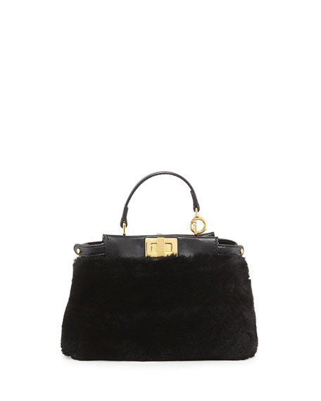 Fendi Peekaboo Micro Shearling Fur Satchel Bag, Black