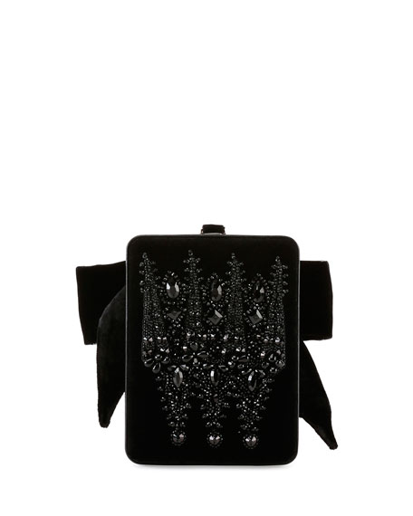 Show Line Embroidered Clutch Bag, Black
