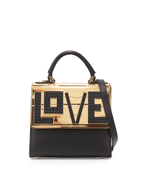 Alex Mini Black Widow Shoulder Bag, Black/Gold