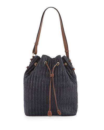 Ami Woven Bucket Bag, Midnight