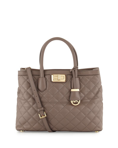 Hannah Quilted Medium Satchel Bag, Cinder