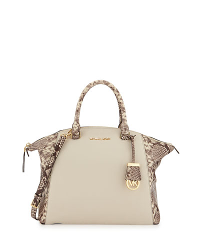 Riley Large Python-Embossed Satchel Bag, Ecru