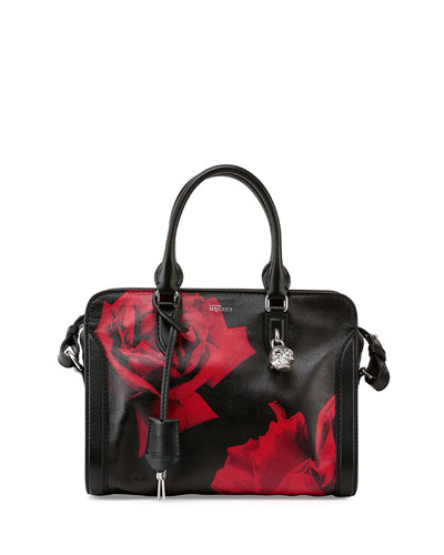 Small Rose-Print Padlock Satchel Bag, Black/Red