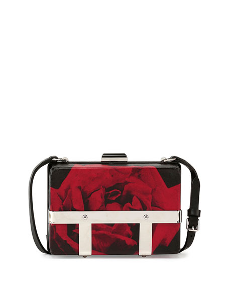 Alexander McQueen Rose-Print Cage Crossbody Bag, Black/Red