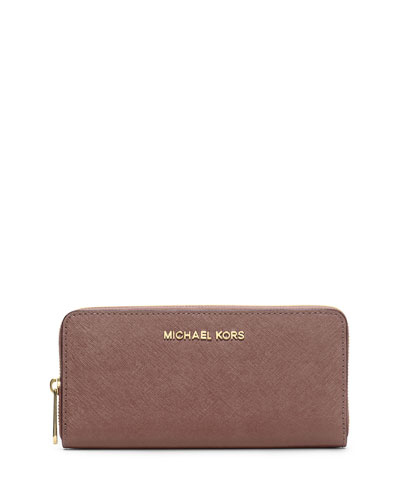 Jet Set Zip-Around Continental Travel Wallet, Dusty Rose