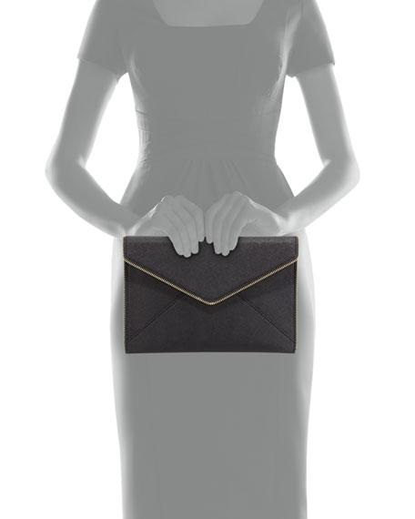 Rebecca Minkoff Leo Saffiano Zip-Trim Clutch Bag