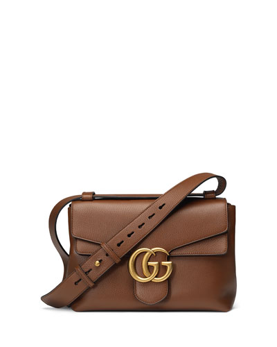 GG Marmont Medium Leather Shoulder Bag, Brown