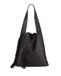 Estia Calfskin Fringe Shoulder Bag, Black