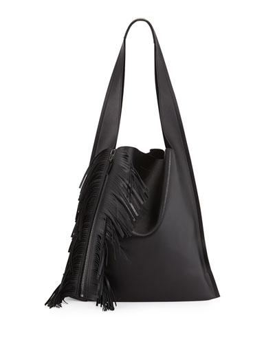 Estia Calfskin Fringe Shoulder Bag, Black