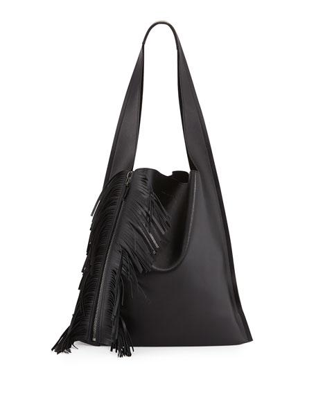 Elena Ghisellini Estia Calfskin Fringe Shoulder Bag, Black