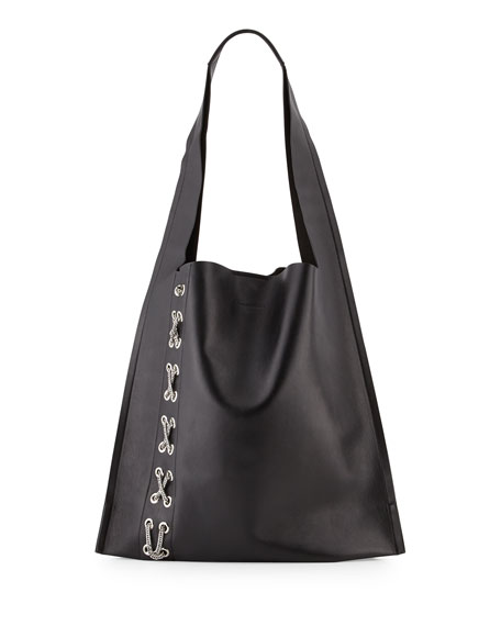 Elena Ghisellini Estia Fetish Chain-Laced Hobo Bag, Black