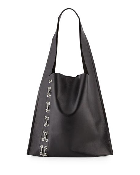 Elena Ghisellini Estia Fetish Chain-Laced Hobo Bag, Black