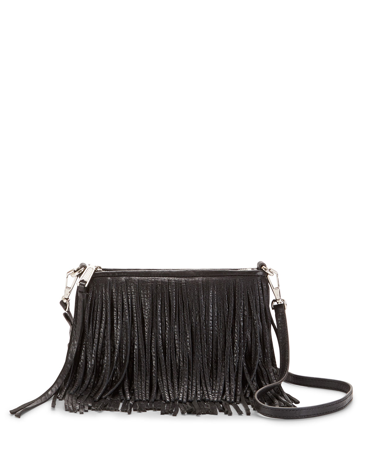 Finn Leather Fringe Crossbody Bag Black