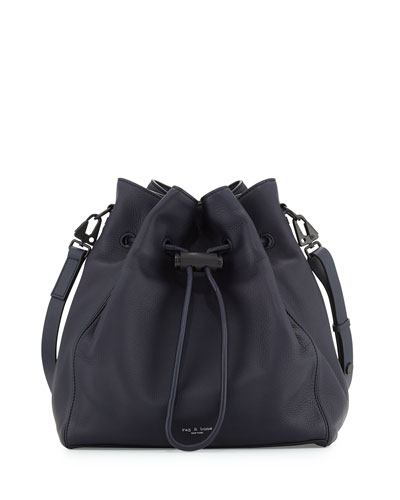 Aston Drawstring Bucket Bag, Navy