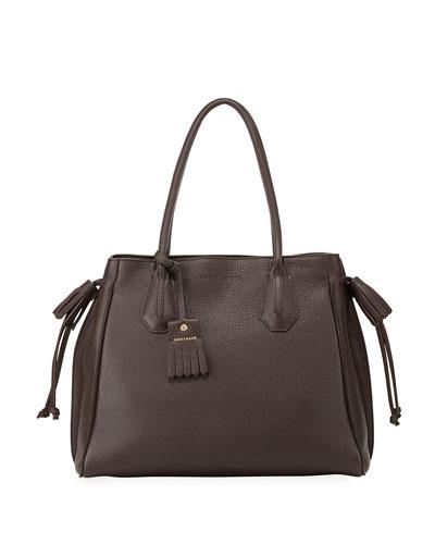 Penelope Leather Shoulder Bag, Ebony