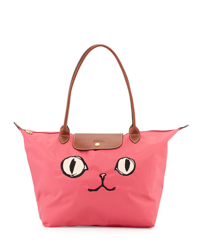 Le Pliage Miaou Large Tote Bag, Malabar Pink