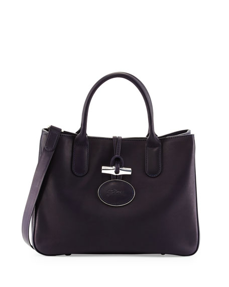 Longchamp Roseau Heritage Tote with Removable Strap, Midnight Blue