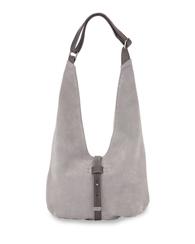 Front-Closure Suede Hobo Bag, Gravel Multi