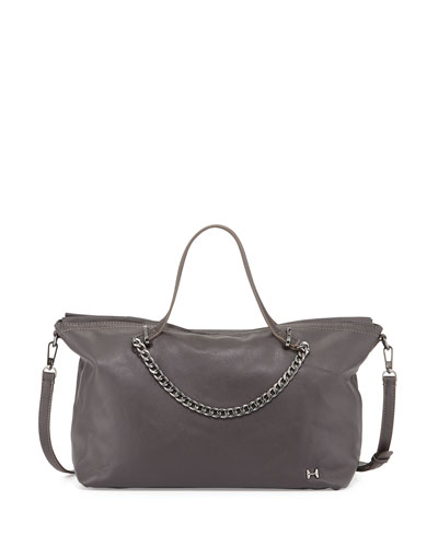Leather Satchel Bag with Chain Detail, Gravel