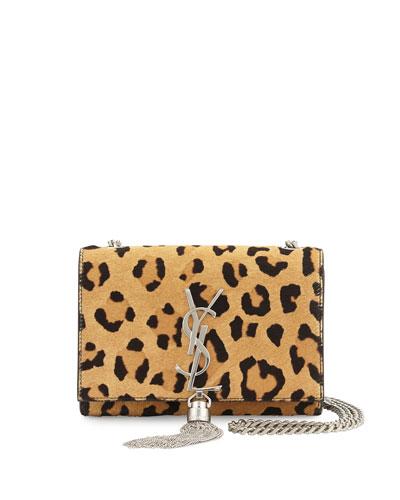 Monogram Small Leopard-Print Calf Hair Crossbody Bag, Beige/Black