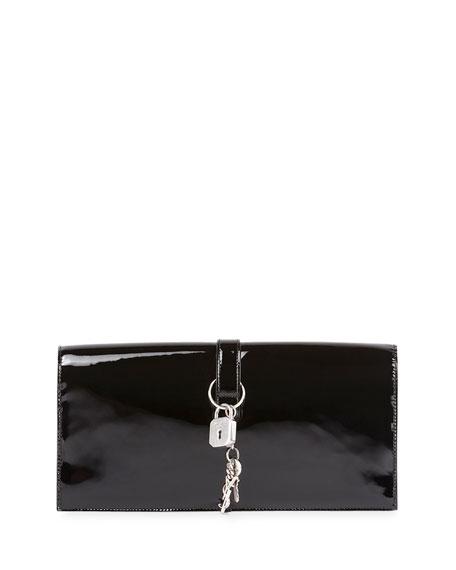 Monogram Patent Punk Chain Clutch Bag, Black