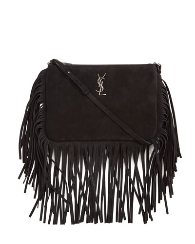 Monogram Suede Fringe-Edge Crossbody Bag, Black