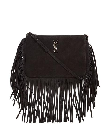 Monogram Suede Fringe Edge Crossbody Bag Black