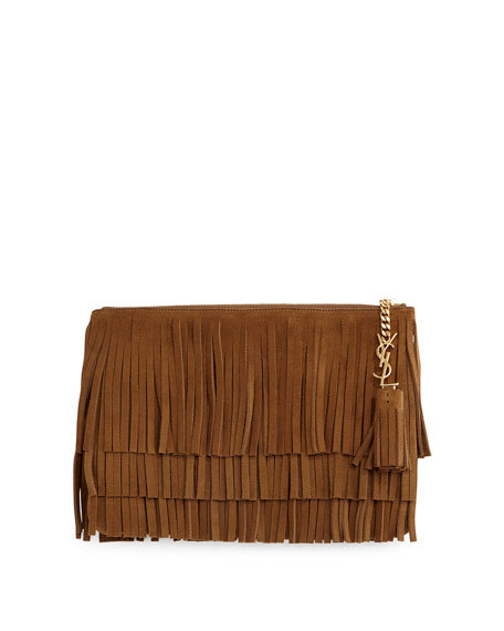 Saint Laurent Monogram Medium Suede Fringe Clutch Bag, Tan