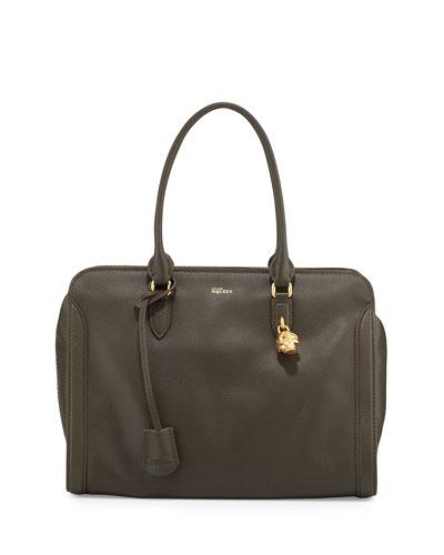 Padlock Leather Satchel Bag, Military