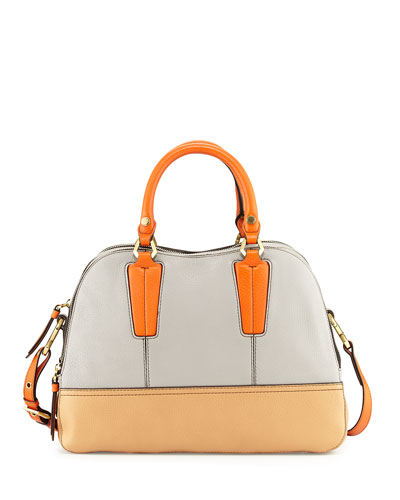Leslie Colorblock Satchel Bag, Dove Multi