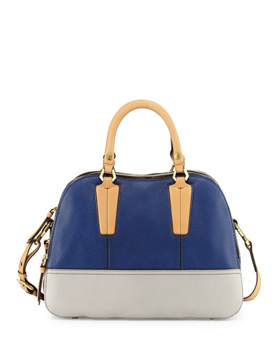 Leslie Colorblock Satchel Bag, Indigo Multi