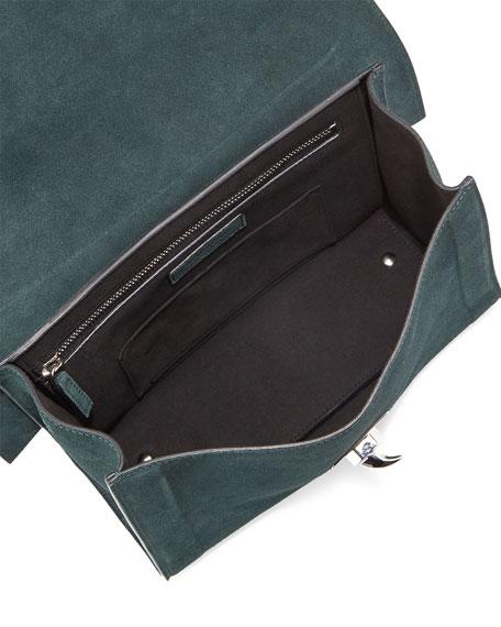 Givenchy Suede Shark-Tooth-Lock Shoulder Bag, Green